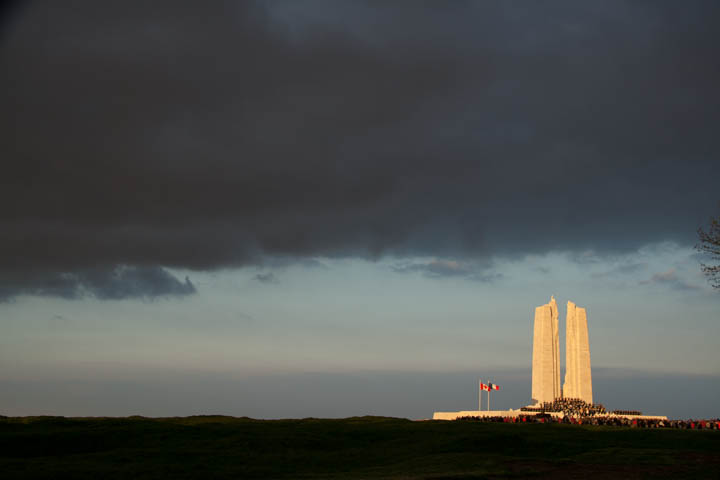 The Canadian monument to the missing on Hill 145, Vimy Ridge, France.
