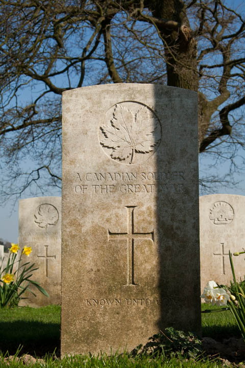 An unknown Canadian soldier rests for eternity in Courcelette British Cemetery on The Somme.