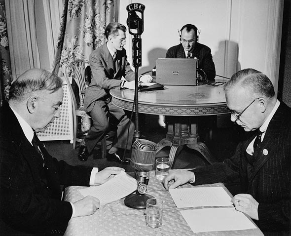 Mackenzie King and Louis St. Laurent broadcasting a message to Canada on VE-Day
