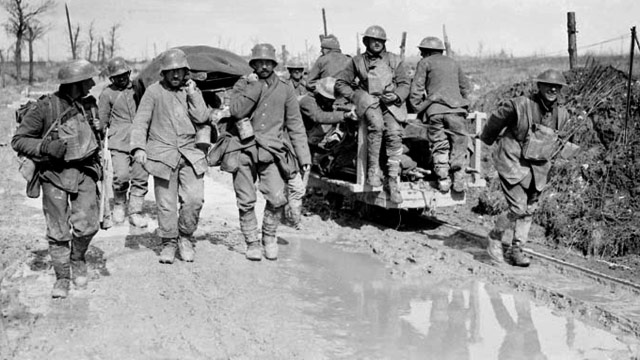 Canadians and German POWs carrying wounded at Vimy Ridge