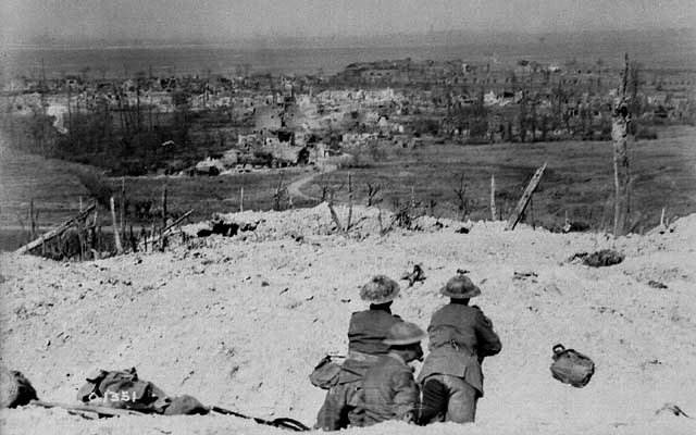 View over the crest of Vimy Ridge showing the village of Vimy in May